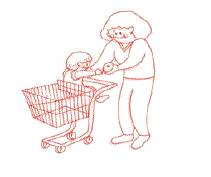 Mother is teaching the child about shopping.